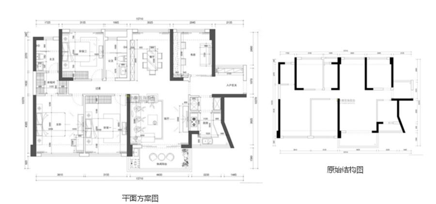 中海鹿丹名苑2栋C户型平面图