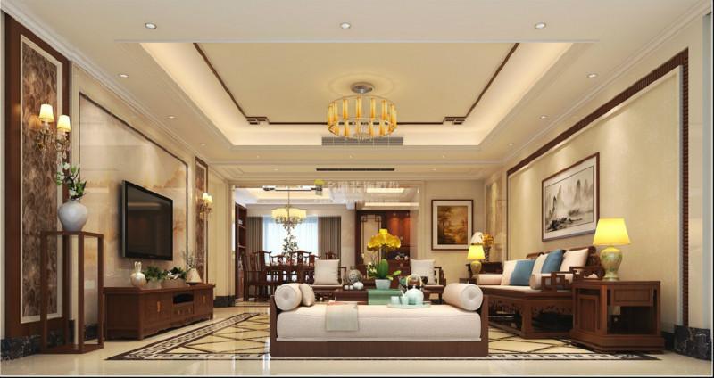 装饰公司新中式客厅效果图