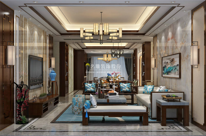 hold住新中式房子装修风格,看到客厅就爱上了!